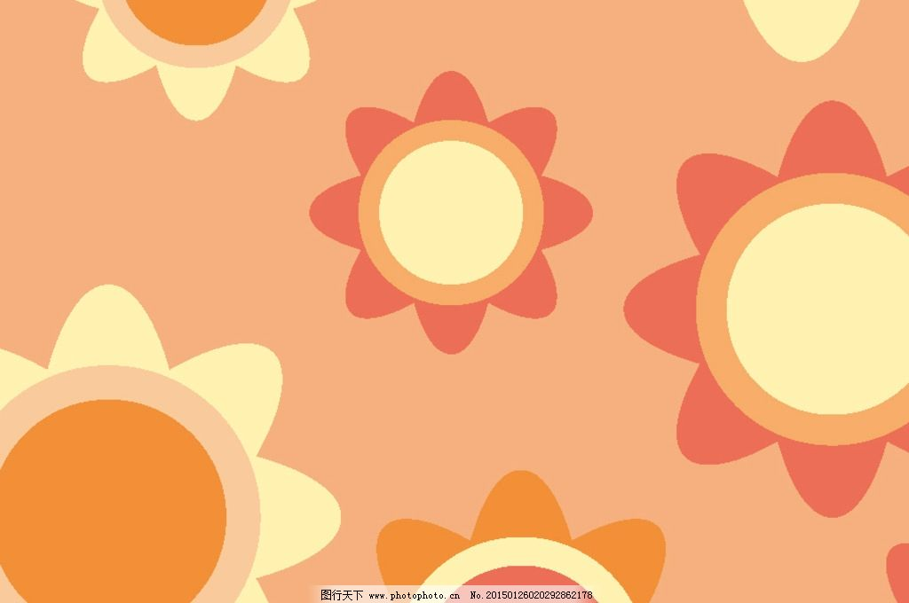 卡通花卉背景 可爱小花背景图片