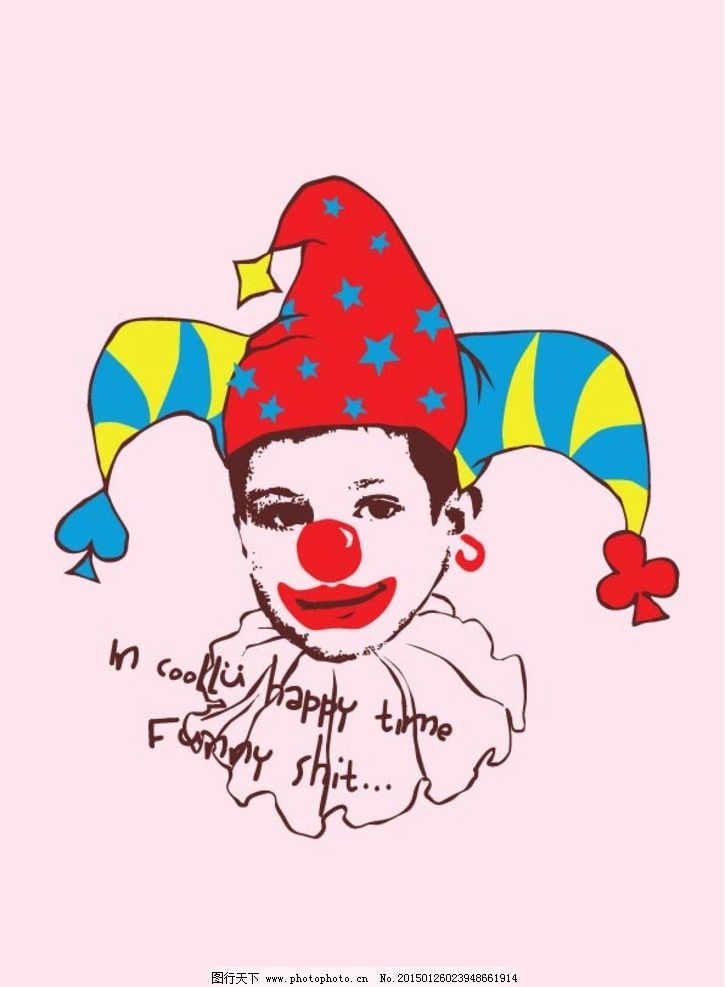 小丑黑白线描卡通
