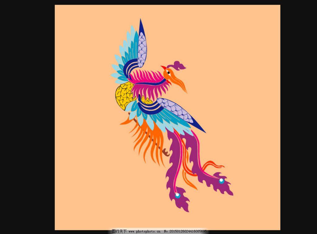 矢量 ai cdr 民族风 中国风 凤凰 其他 动物 彩绘 艺术设计 艺术效果
