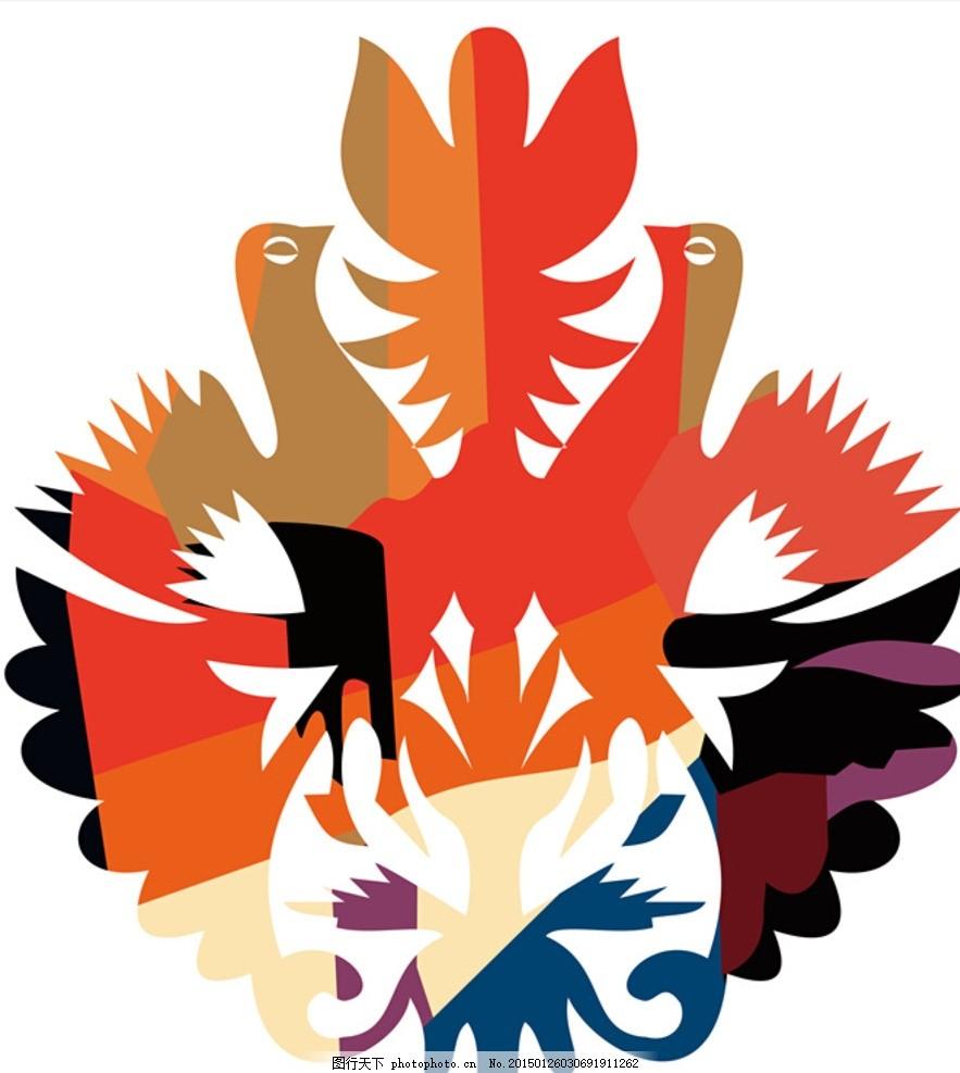 双鸟图案 双鸟 凤凰 体恤图案 衬衫图案 色彩鸟 设计 广告设计 服装图片