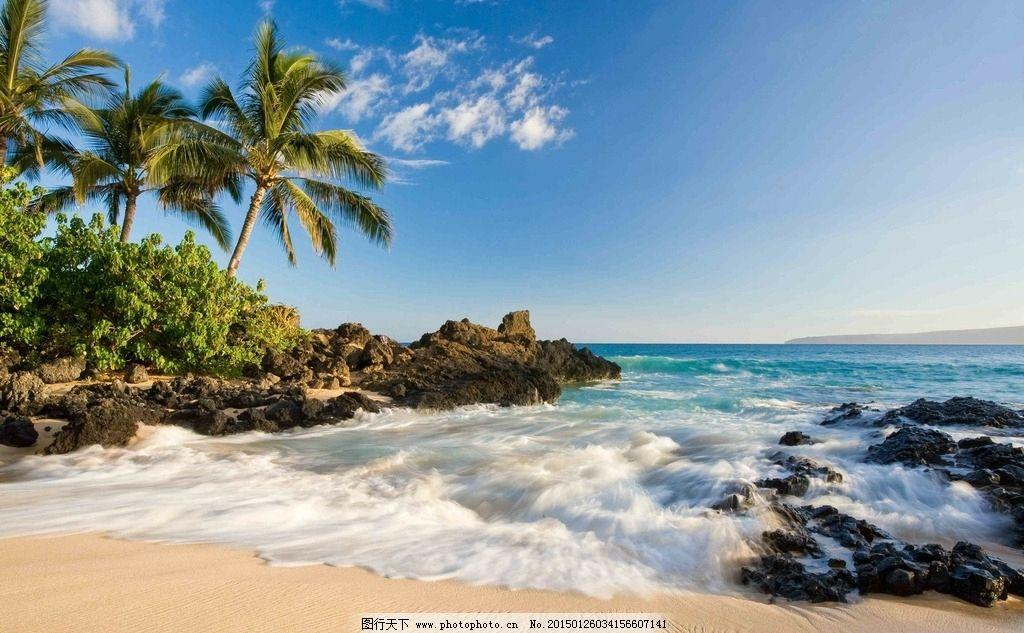 大海 海边 椰树 石头 浪花 蓝天 白云 礁石 沙滩碧海蓝天 树木 优美
