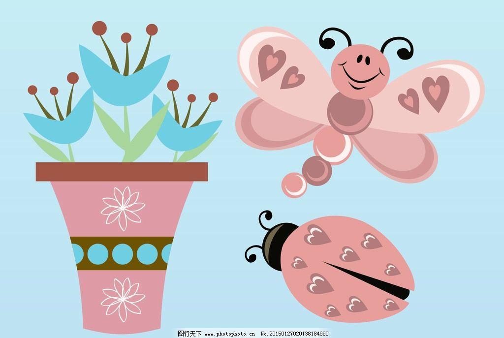 蝴蝶 瓢虫 手绘插图 手绘素材 矢量花朵 矢量素材 各种花朵 素材 花藤