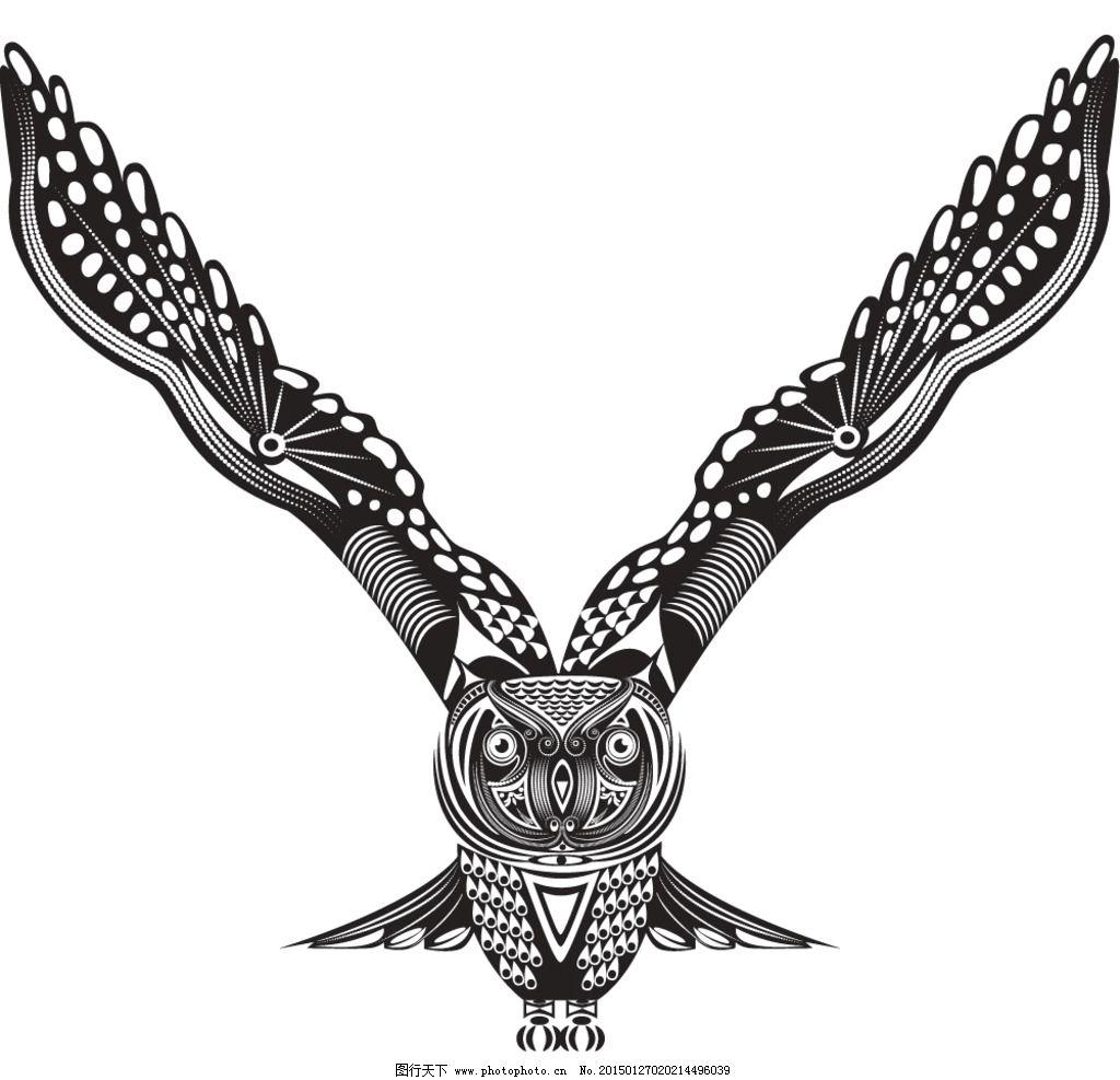 动物花纹 纹理 猫头鹰 装饰花纹 花纹 线条 手绘 墙纸 壁纸 底纹背景