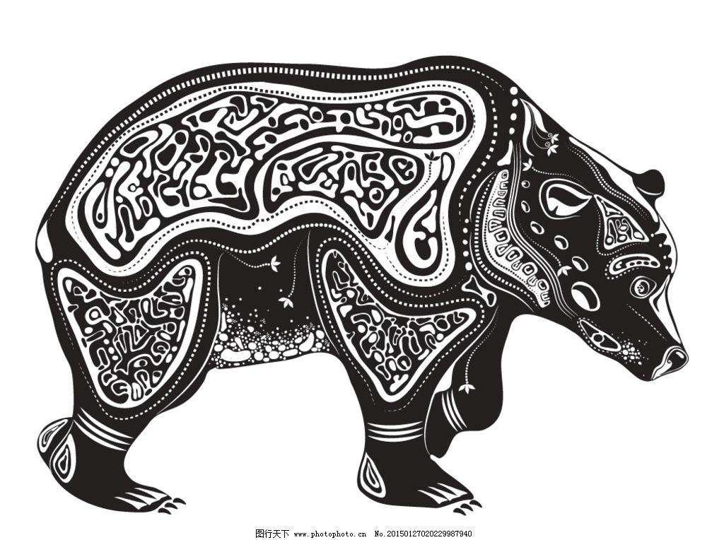 动物花纹 纹理 狗熊 装饰花纹 花纹 线条 手绘 墙纸 壁纸 底纹背景 矢