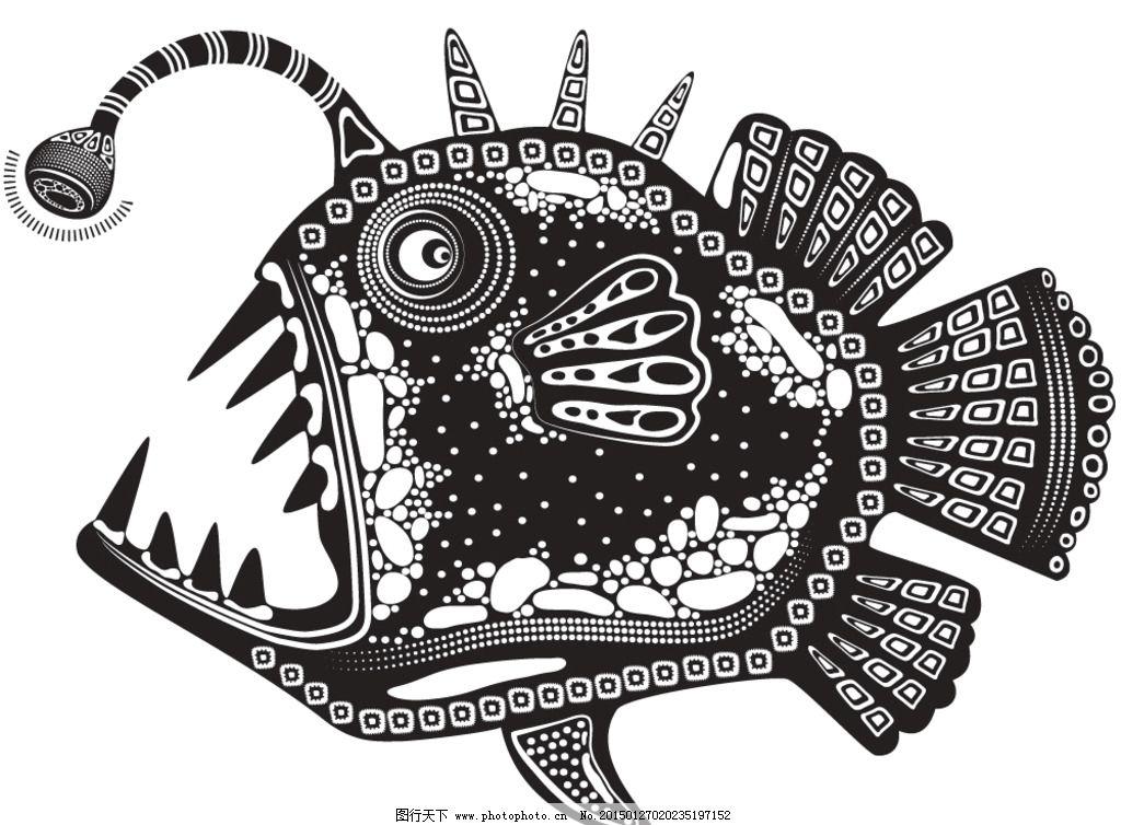 动物花纹 纹理 鱼 装饰花纹 花纹 线条 手绘 墙纸 壁纸 底纹背景 矢量