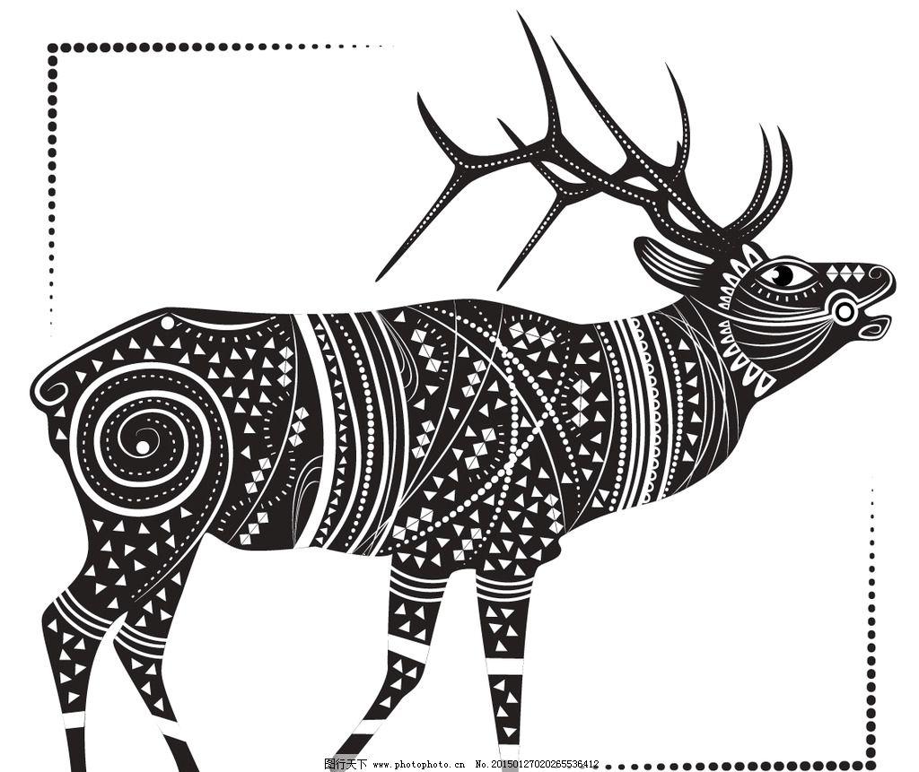 动物花纹 纹理 鹿 装饰花纹 花纹 线条 手绘 墙纸 壁纸 底纹背景 矢量