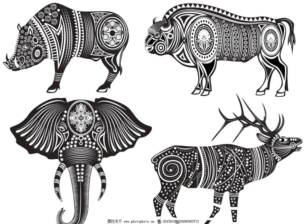动物花纹 纹理 大象 鹿