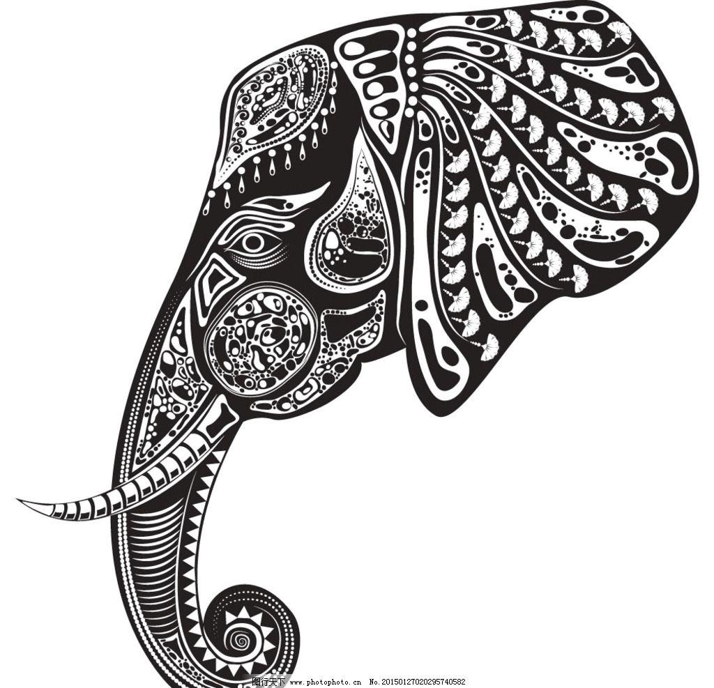 动物花纹 纹理 大象 装饰花纹 花纹 线条 手绘 墙纸 壁纸 底纹背景