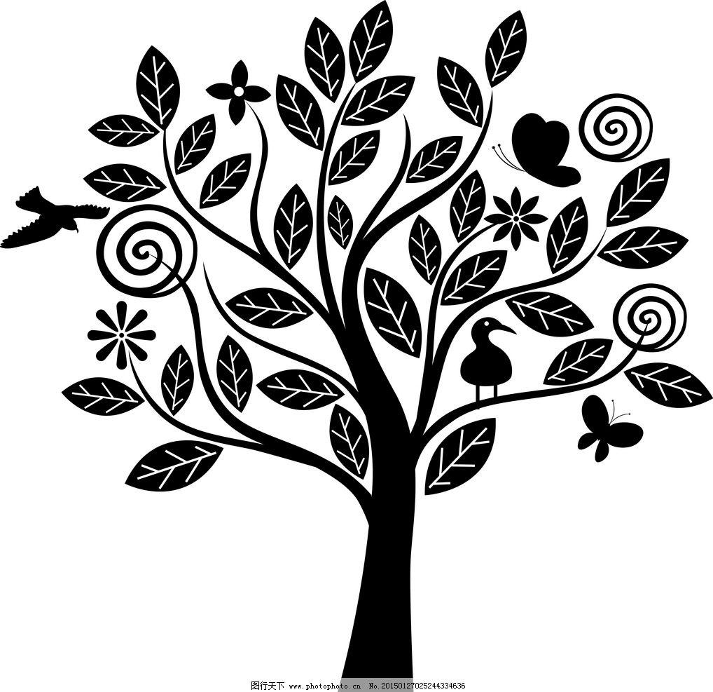 手绘树木插画图片