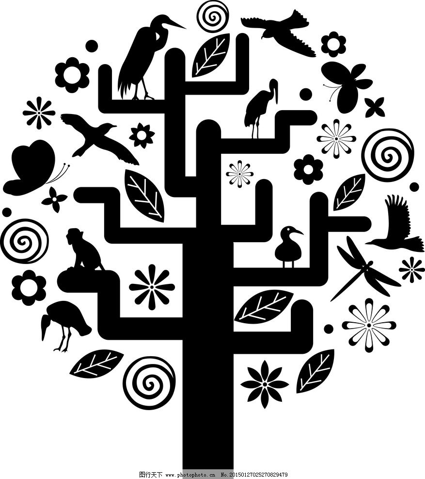 手绘黑色树木小鸟花草图片