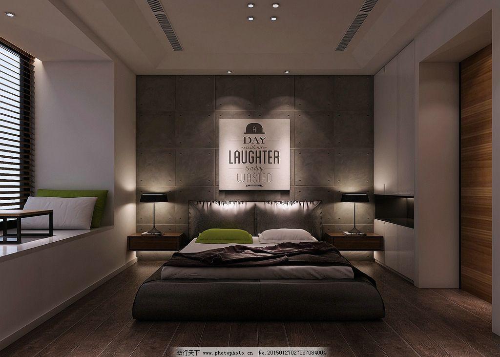 卧室效果图 东方 极简 床铺 灯光 水泥墙图片