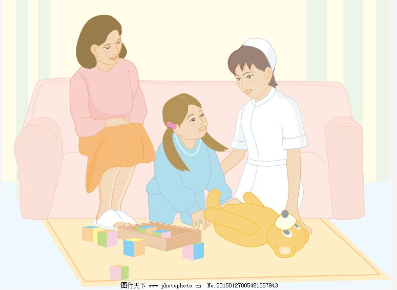 护士与妈妈和孩子