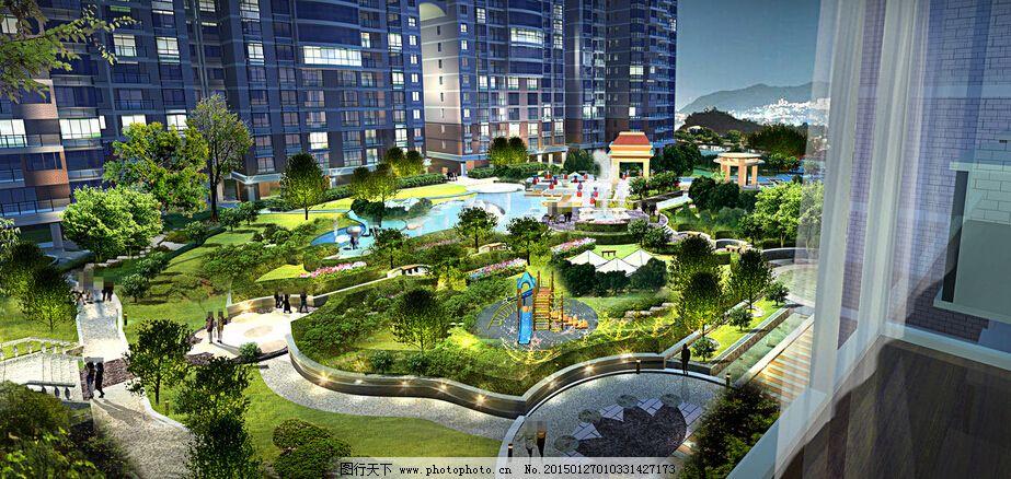 花园广场景观设计psd 凉亭 灯光效果 鲜花 草地 树木 装饰素材 园林