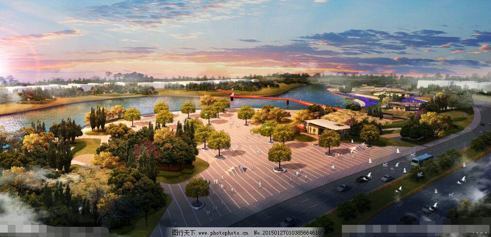 森林公园 中式建筑 鸟瞰图 中式建筑 风景区 居住区 森林公园 效果图