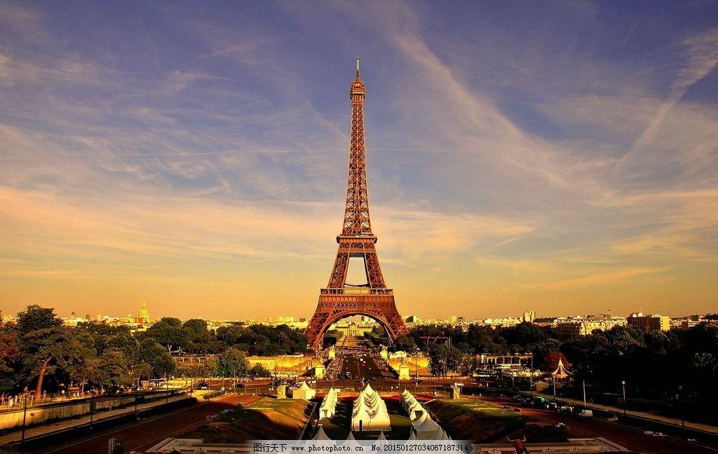 巴黎 埃菲尔铁塔 黄昏图片