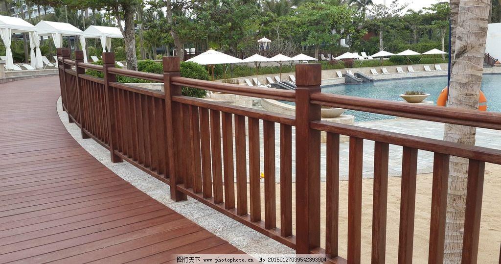 景观栏杆 栈道 木 水边