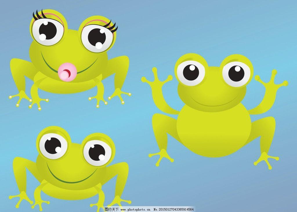 卡通青蛙 可爱动物 青蛙 荷叶 荷叶伞 雨滴 手绘卡通 其他 源文件