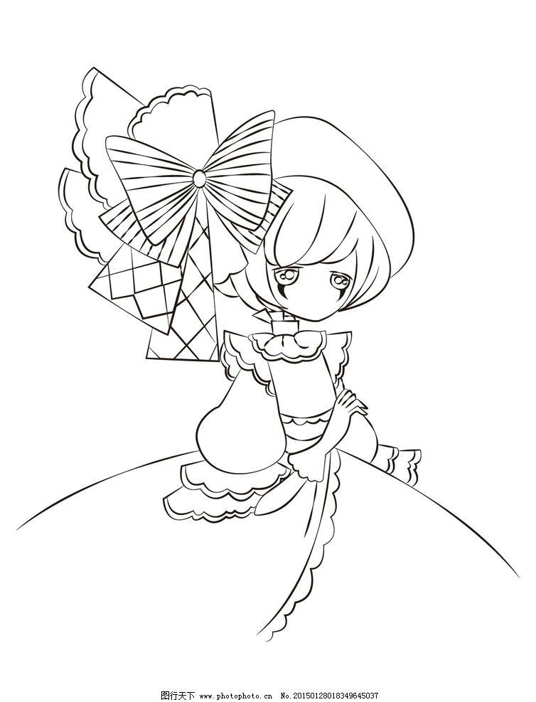 线条 动漫 女孩 矢量 蝴蝶结 手绘哥特 设计 动漫动画 动漫人物 ai