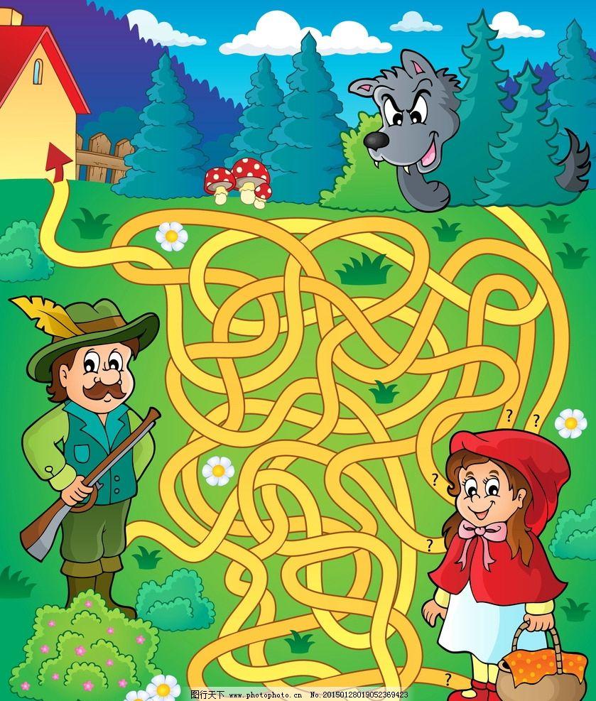 迷宫插图 手绘卡通插画 小女孩 猎人 狼 儿童绘画 卡通背景 背景底纹