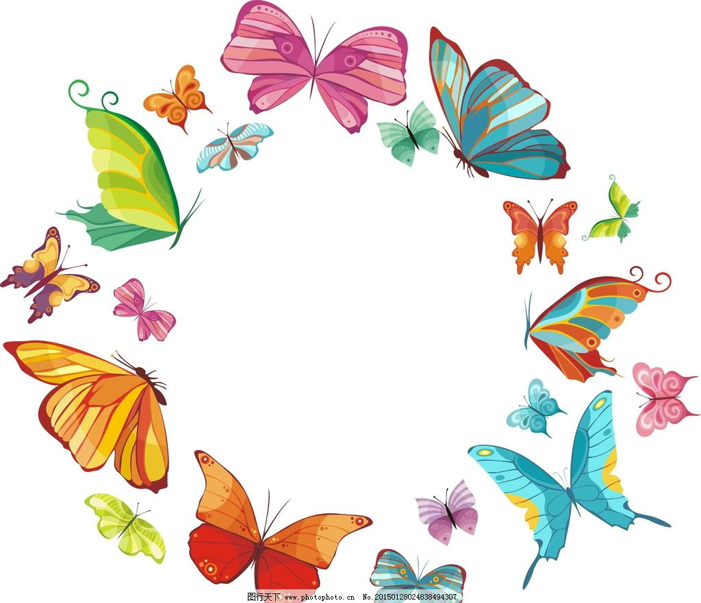 蝴蝶 蝴蝶剪影 彩色蝴蝶 手绘 昆虫 翅膀 蝴蝶图案 生物世界 设计