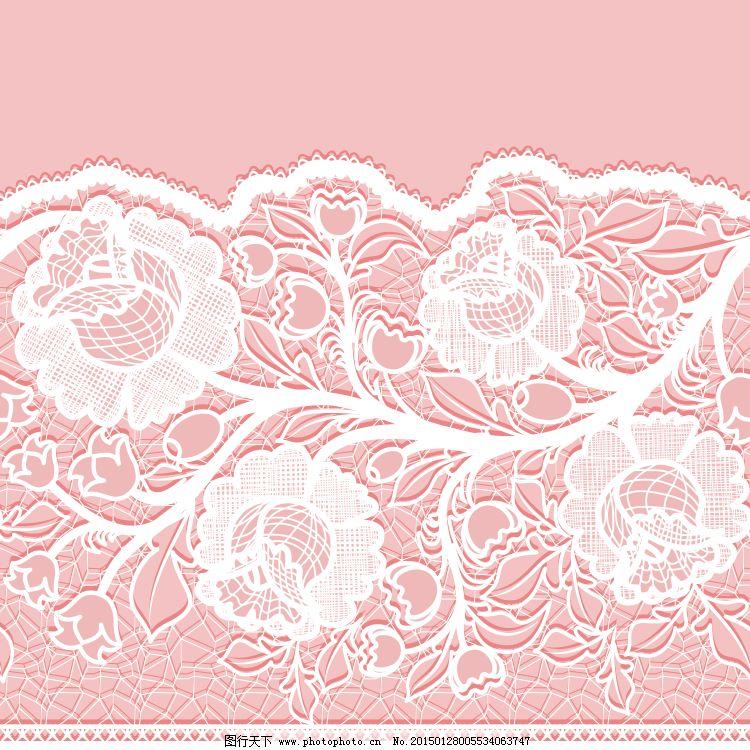 粉色蕾丝花纹花边背景矢量素材