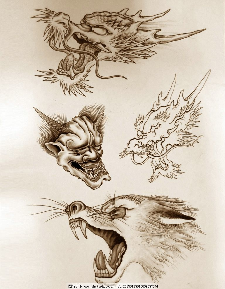 阿亮传统刺青画集 龙与狼线稿草图片图片