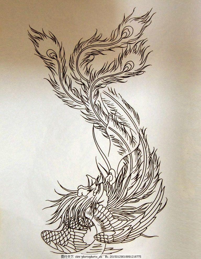 阿亮传统刺青画集 凤凰线稿图片图片