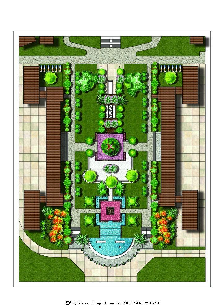 广场 平面 彩色 布置 ps图 设计 环境设计 景观设计 300dpi psd