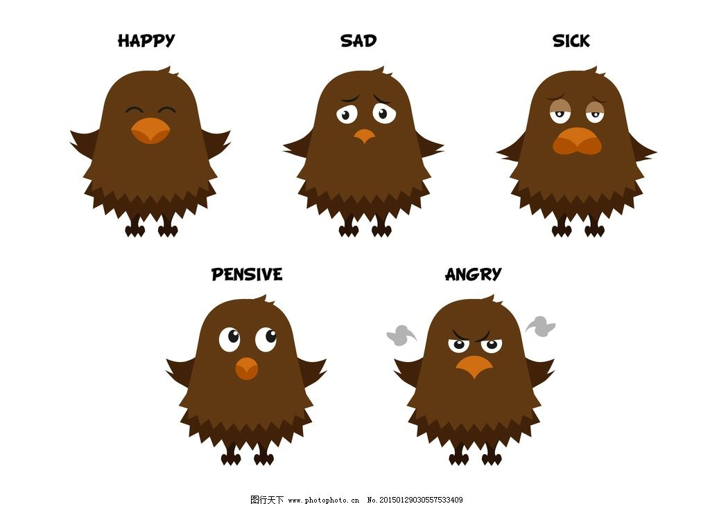 愤怒 哭泣 哀伤 可爱卡通小鸟 可爱 卡通 小鸟 有趣 表情 滑稽 手绘