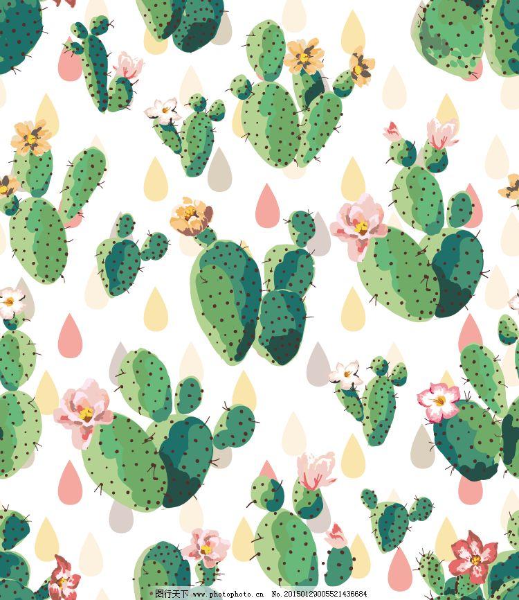仙人掌植物背景矢量素材