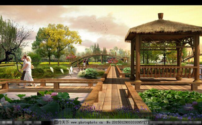 木栈道 亭子 亲水廊亭 拱桥 景观效果图 设计 环境设计 家居装饰素材