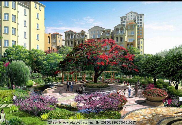 綠化設計 水景設計 小區園林效果圖 小區園林效果圖 景觀設計 綠化