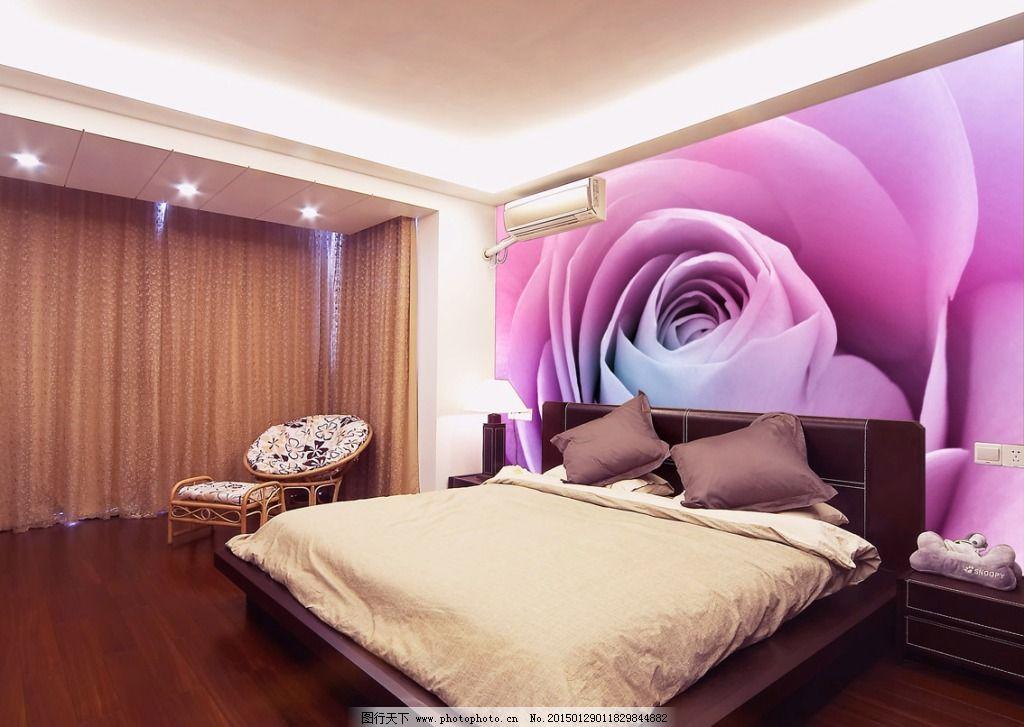 紫玫瑰床头背景墙大型壁画图片