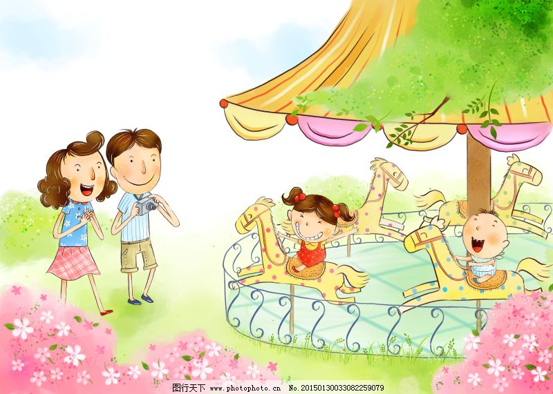 一家人在游乐园psd源文件 草地 大树 儿童画 可爱 蓝天白云图片
