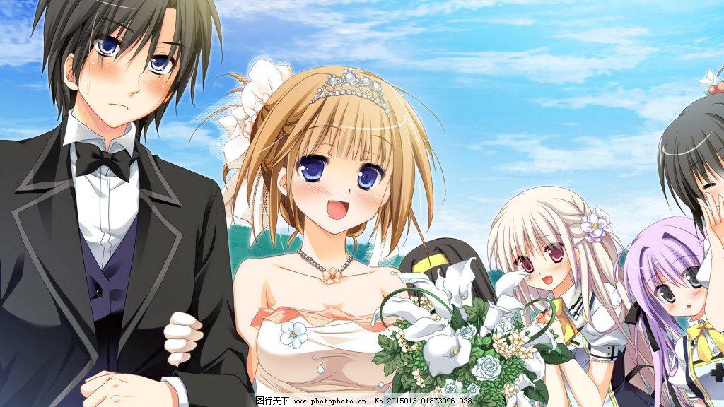 结婚的动漫少女免费下载 动漫 短发 婚纱 礼花 礼花 婚纱 动漫 短发