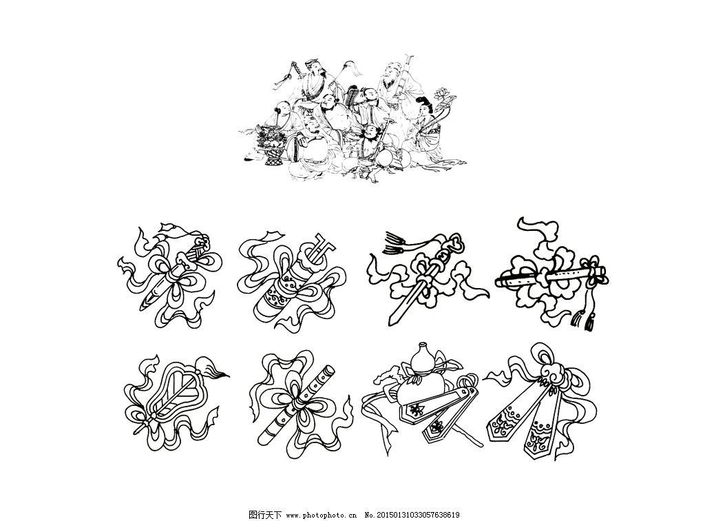 神话人物线稿图片,传统人物 白描图片素材 八仙过海