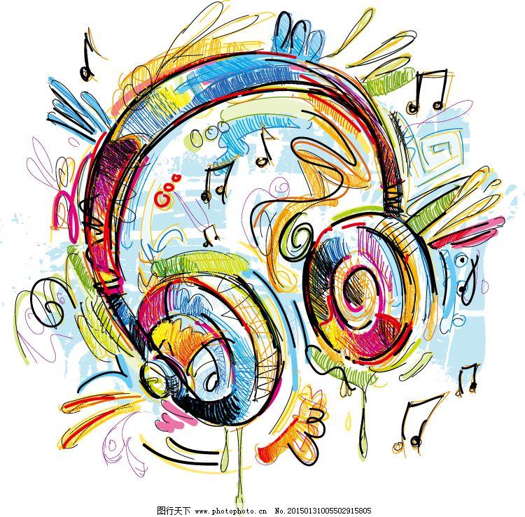 耳机手绘背景矢量素材免费下载 eps格式 耳机 凌乱 手绘 涂鸦 音符