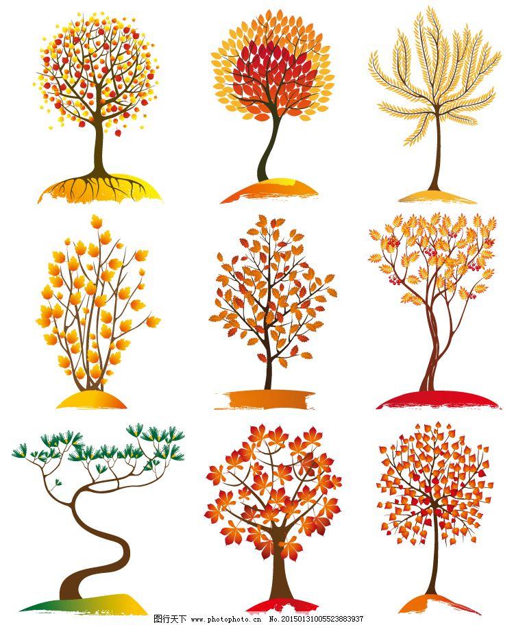 树木背景矢量素材免费下载 枫叶 红叶 秋季 树 树木 图标 植物 树木