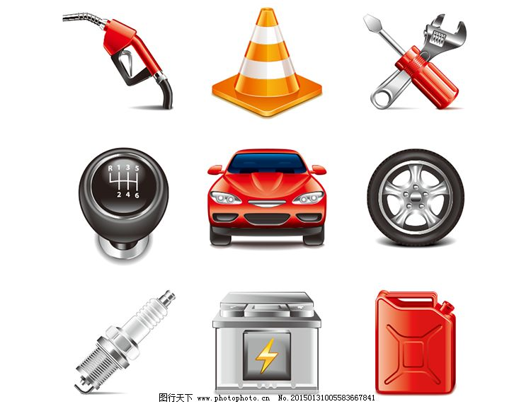 轮胎 汽车 图标 图标 汽车 电瓶 汽油桶 火花塞 手动排档 轮胎 加油枪