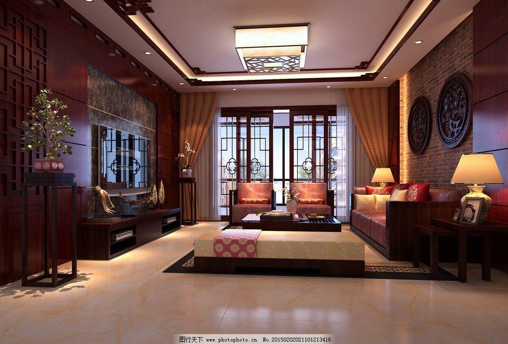 中式客厅 模型 大厅效果图 卧室效果图 大理石效果 电视背景 全客厅
