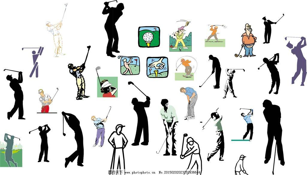 高尔夫动作矢量集图片
