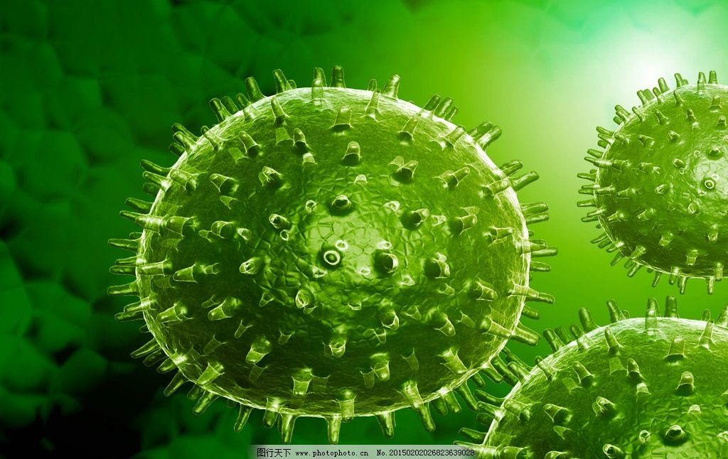 手绘卡通绿色病毒