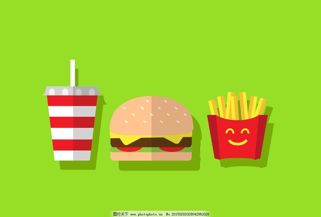 建筑设计  可乐 薯条 汉堡 图标 矢量汉堡标签 标签 徽章 手绘 时尚