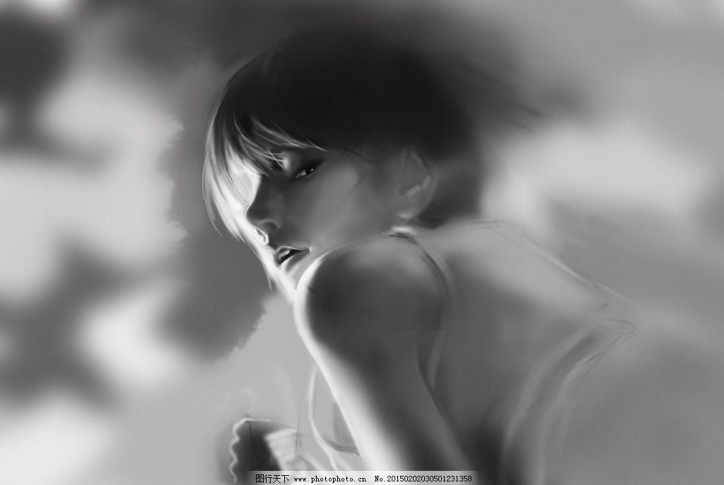 插画 美女 唯美 黑白 人物 表情 设计 动漫动画 其他 300dpi jpg