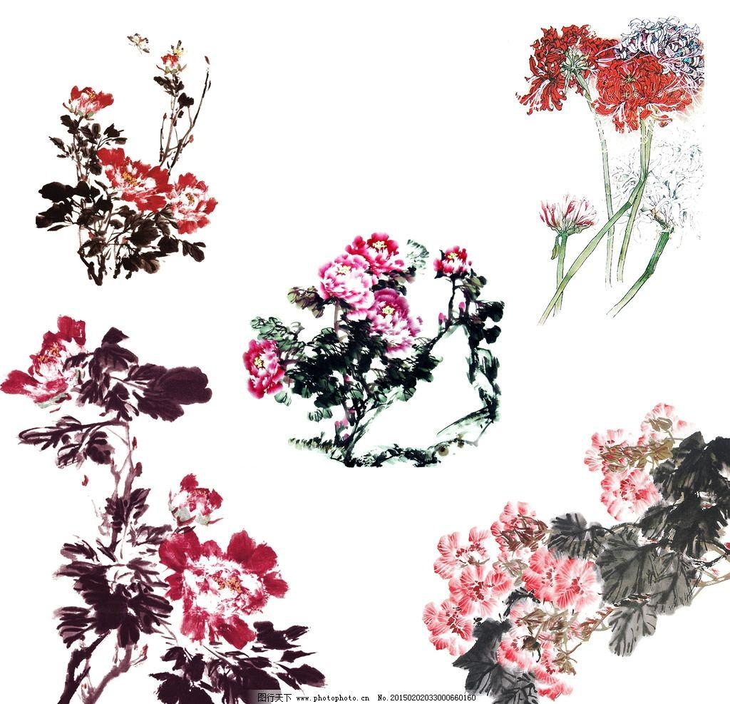 水墨画牡丹花图片