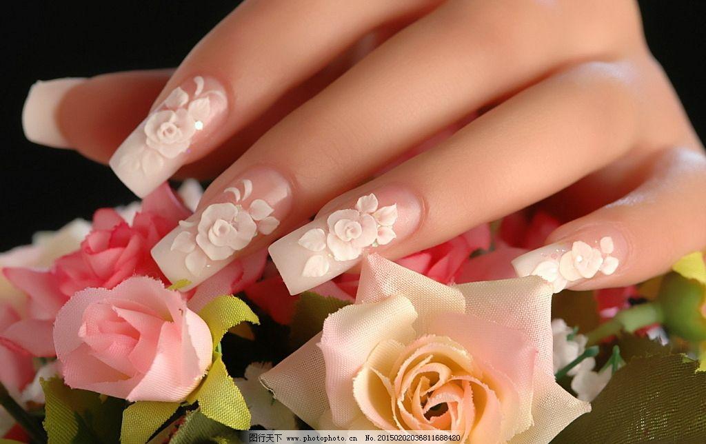 粉色玫瑰雕花美甲 粉玫瑰 玫瑰花 花卉美甲 手模 手指 指甲 美甲图案