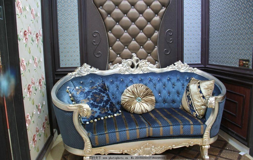 欧式沙发 抱枕 欧式装修 蓝色 摄影 室内摄影 家居生活图片