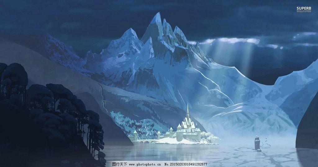 冰雪奇缘 冰雪公主 雪地场景图片
