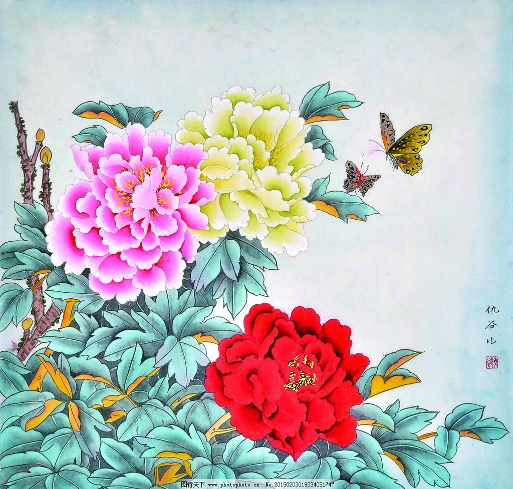 花开富贵图 美术 中国画 工笔画 牡丹花 彩蝶 国画牡丹 仇谷国画