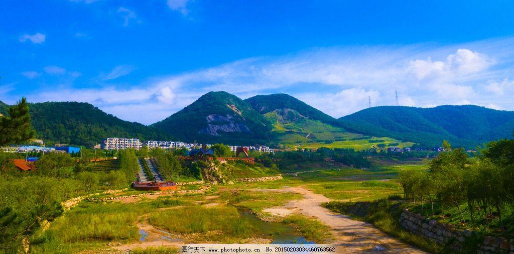 山峦 蓝天白云 树木 草地 家乡风光(大连) 摄影 自然景观 山水风景